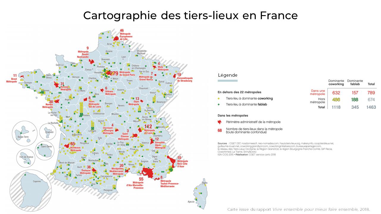 Cartographie des tiers-lieux en France